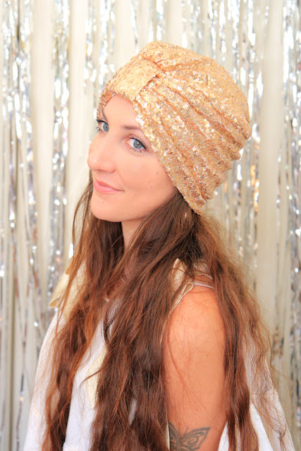 Gold Sequin Turban by Mademoiselle Mermaid.