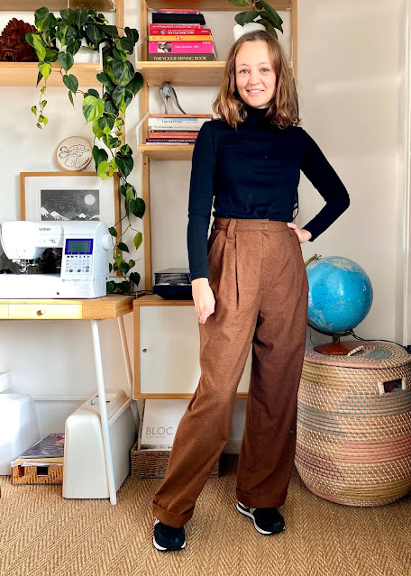 Diary of a Chain Stitcher: By Hand London Jackie Trousers in Gingerbread Houndstooth Wool Suiting from Fabworks