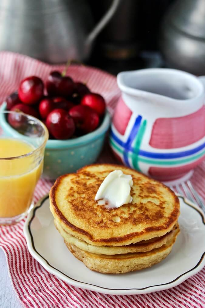 Sourdough Pancakes with Hibiscus Syrup for brunch