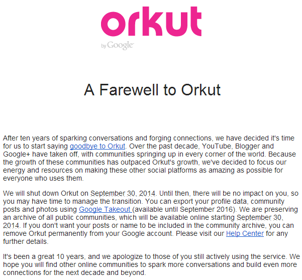 orkut will be shut down after 10 years