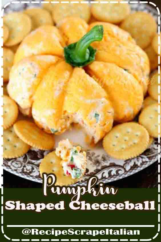 Pumpkin-Shaped Cheeseball  #thanksgiving #recipe #simple #uniqe