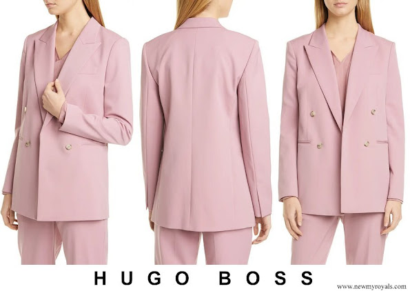 Queen Letizia wore Hugo Boss Jericoa Stretch Wool Double Breasted Blazer
