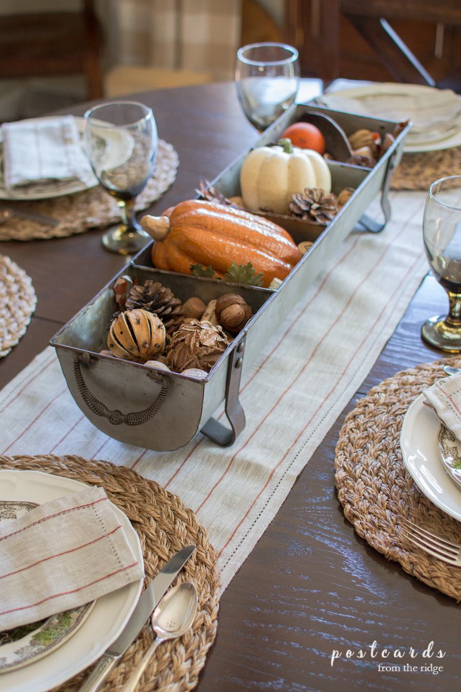 fall table centeripiece in metal chicken feeder