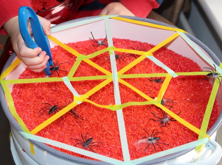 rescue the spiders sensory bin
