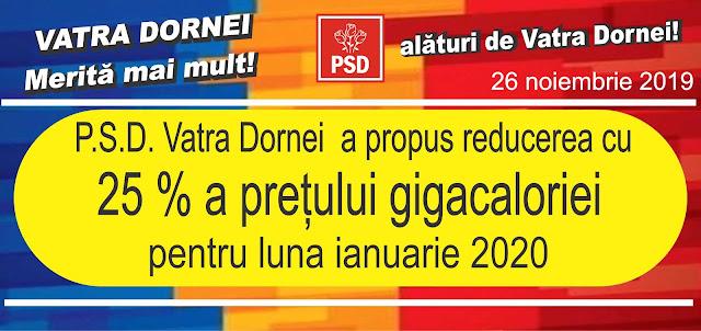 PSD Vatra Dornei a propus reducerea cu 25% a prețului gigacaloriei pentru luna ianuarie 2020