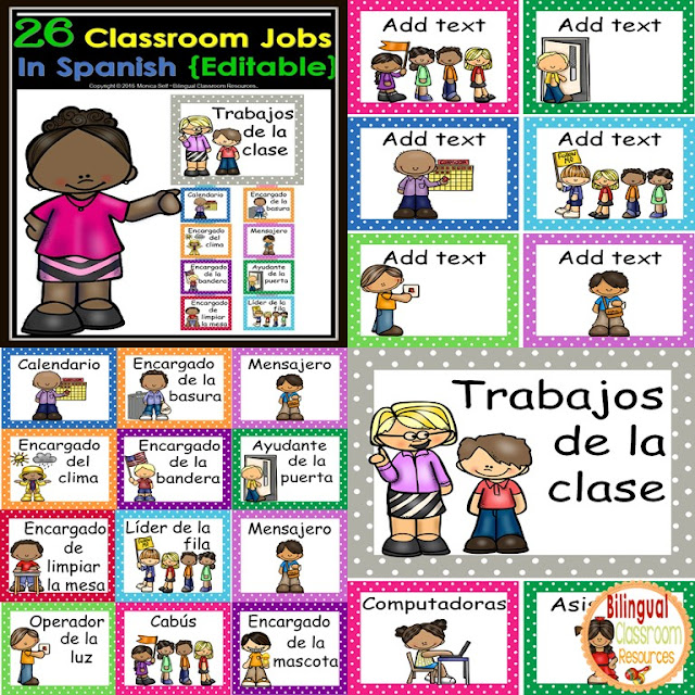 Establish, organize, and manage your classroom jobs all year long! with these editable classroom jobs in Spanish