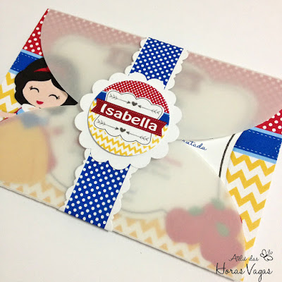 convite artesanal personalizado festa aniversário infantil 1 ano aninho princesa princesas Branca de Neve delicado diferente menina scrap scrapbook envelope papel vegetal