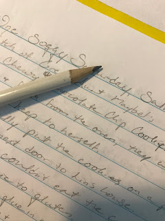 Close-up of a different notebook page with words written in pencil, and the pencil sits across the page, obscuring many of the words.