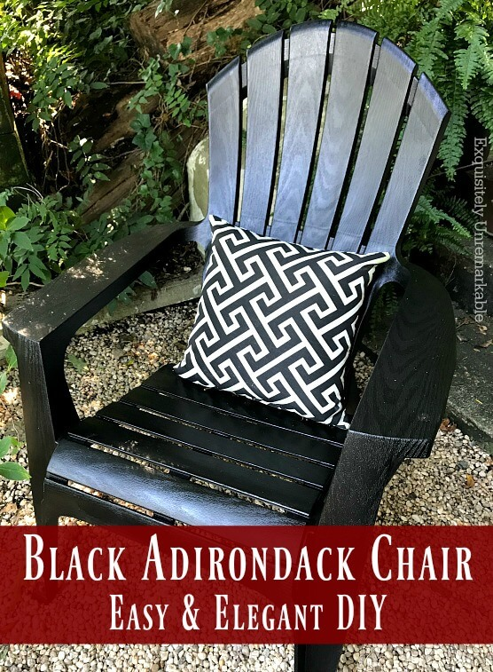 Black Adirondack Chair  Easy & Elegant DIY Text overly on Black Adirondack chair with outdoor pillow