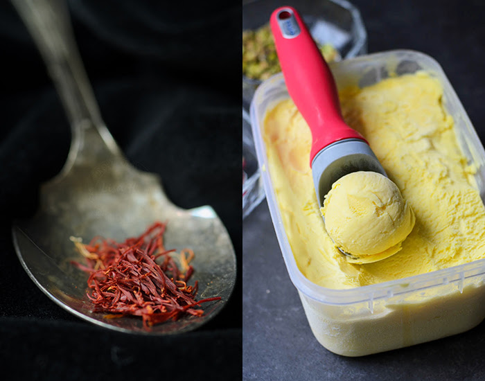 saffron ice-cream in a tub