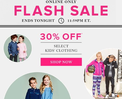 Hudson's Bay Flash Sale 30% off Kids Clothing