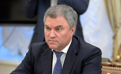 State Duma Speaker Vyacheslav Volodin at a meeting with permanent members of the Security Council.