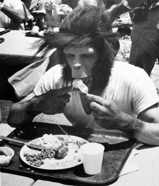 Fotografías del proceso de maquillaje de El planeta de los simios