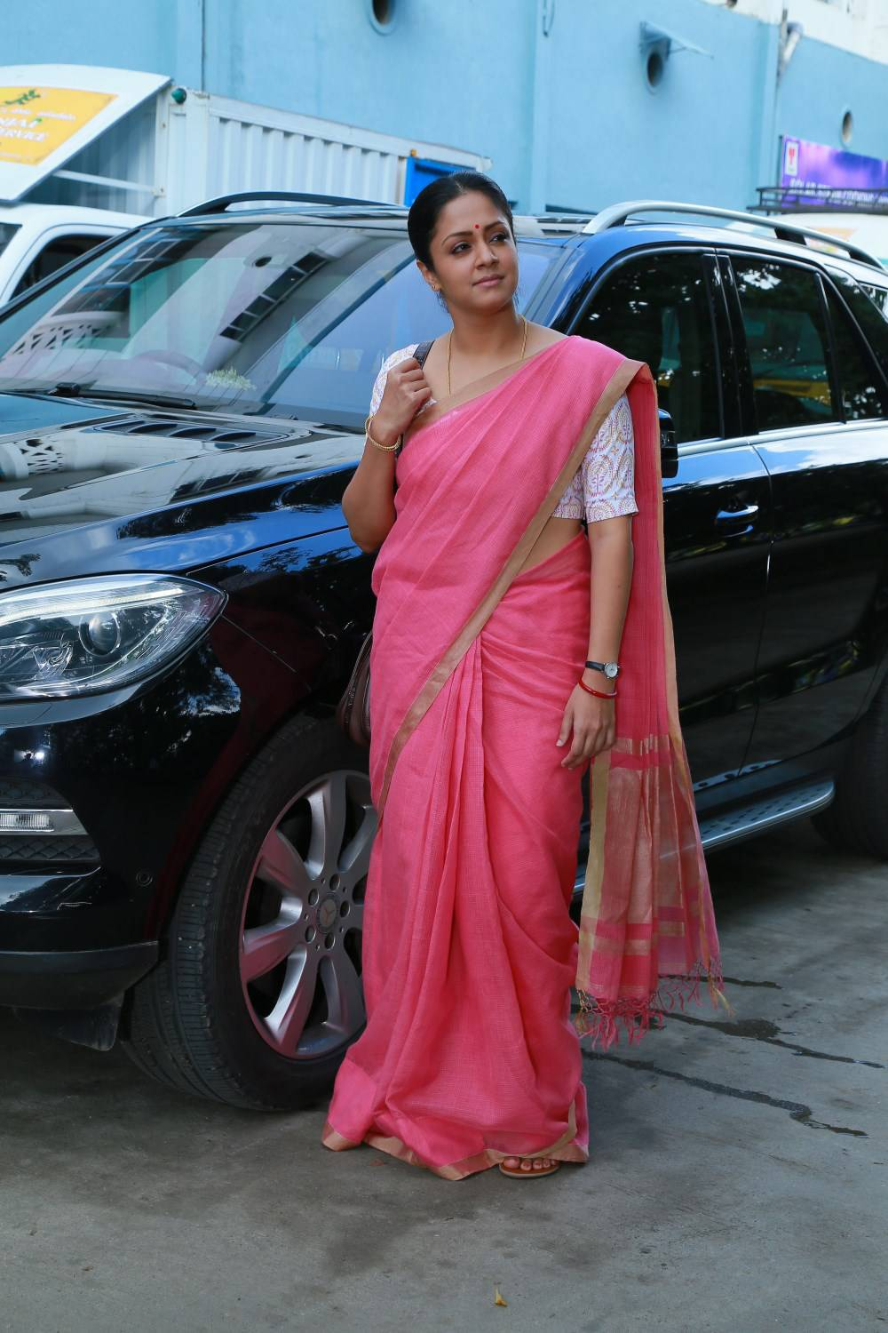 Kollywood Actress Jyothika Photos In Red Saree