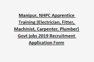 Manipur, NHPC Apprentice Training (Electrician, Fitter, Machinist, Carpenter, Plumber)  Govt jobs 2019 Recruitment Application Form
