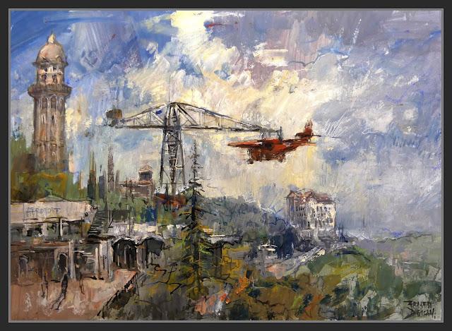 TIBIDABO-BARCELONA-PINTURA-ART-AEROPORT-AVIÓ-PARC D'ATRACCIONS-ARTISTA-PINTOR-ERNEST DESCALS-