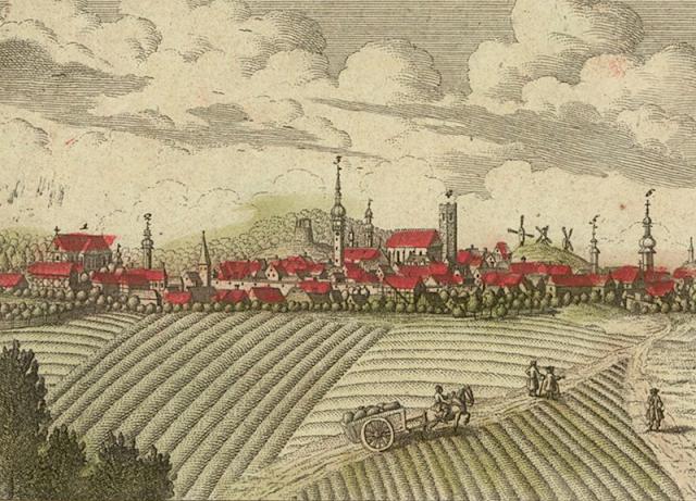 Dawna grafika niemiecka przedstawiam Kożuchów i jego budowle.