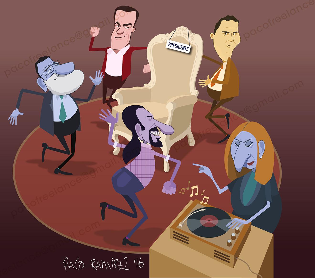 Rajoy, Sanchez, Iglesias y Rivera por Paco Ramírez