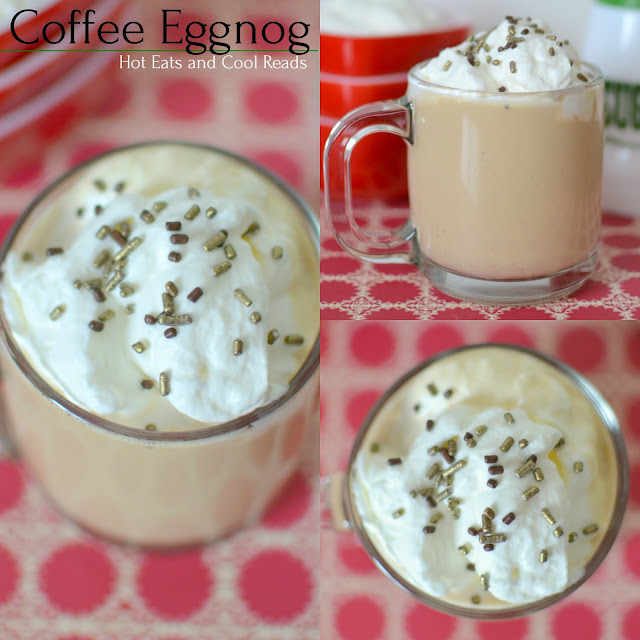 Coffee Eggnog Recipe from Hot Eats and Cool Reads! Make your eggnog extra special with some coffee and whipped cream! So perfect for any Christmas celebration or holiday party! Add your favorite liquor for a delicious adult drink!