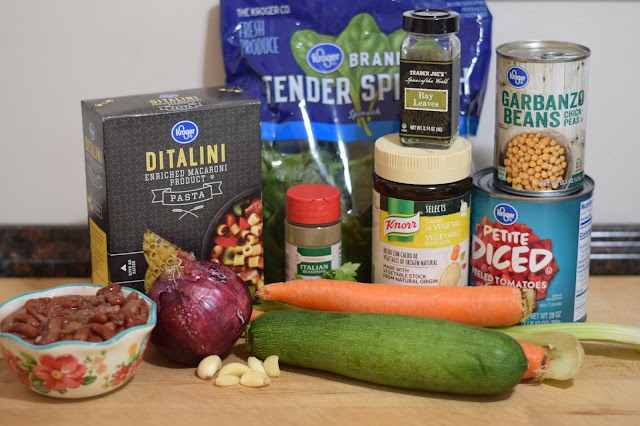 All of the ingredients needed to make the one pot vegan minestrone soup recipe.