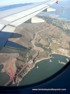 Golden Gate Bridge from an airplane