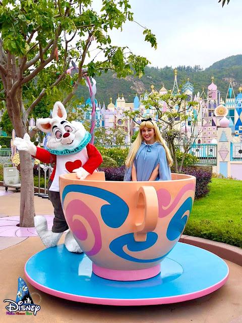 白兔先生 聯同 愛麗絲White Rabbit and Alice 現身瘋帽子旋轉杯自拍點, HKDL, Hong Kong Disneyland, 香港迪士尼樂園, 奇妙春日快樂加倍, Celebrate A Double Rainbow This Spring