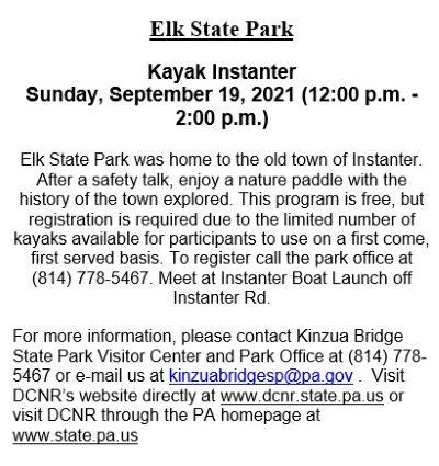 9-19 Elk State Park, Kayak Instanter