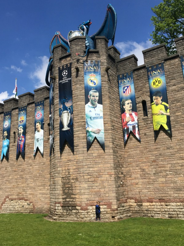 Cardiff-Castle-with-Gareth-Bale-and-Champions-league-blue-dragon-and-trophy
