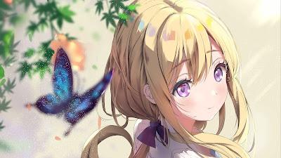 Butterfly, blond hair, purple eyes, Anime girl