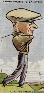 Tobacco trading card from the 1920s with a caricature of Tony Torrance