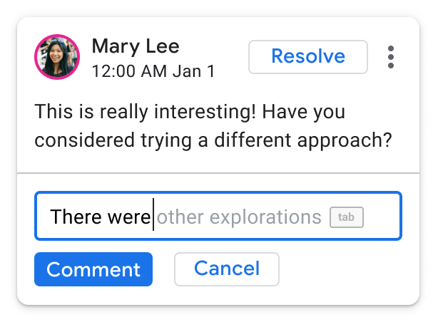 Image of Smart Compose offering a suggestion in a comment