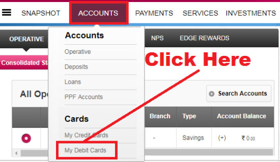 how to reset debit card pin in axis bank online