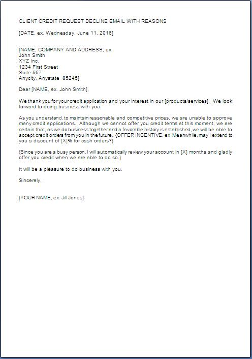 Customer Credit Refusal Letter