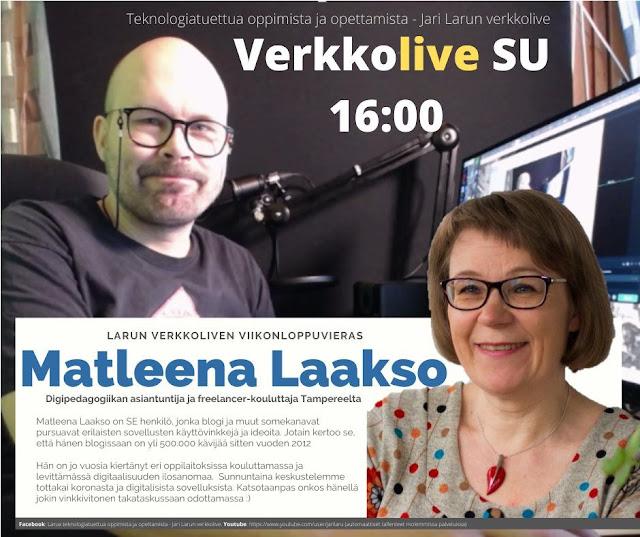Verkkolive sunnuntaina 16:00: viikonlopun vieras on digipedagogiikan asiantuntija ja freelancer-kouluttaja Matleena Laakso Tampereelta. Matleena Laakso on SE henkilö, jonka blogi ja muut somekanavat pursuavat erilaisten sovellusten käyttövinkkejä ja ideoita. Jotain kertoo se, että hänen blogissaan on yli 500.000 kävijää sitten vuoden 2012. Hän on jo vuosia kiertänyt eri oppilaitoksissa kouluttamassa ja levittämässä digitaalisuuden ilosanomaa. Sunnuntaina keskustelemme tottakai koronasta ja digitalisista sovelluksista. Katsotaanpas onkos hänellä jokin vinkkivitonen takataskussaan odottamassa :) Tervetuloa mukaan lähetykseen sunnuntaina!