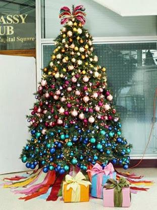 decorar el árbol de navidad solo con esferas, decorar el arbol solo con pelotas de colores, como adornar el árbol con pelotas de varios colores, como dejar el árbol de navidad muy bonito.
