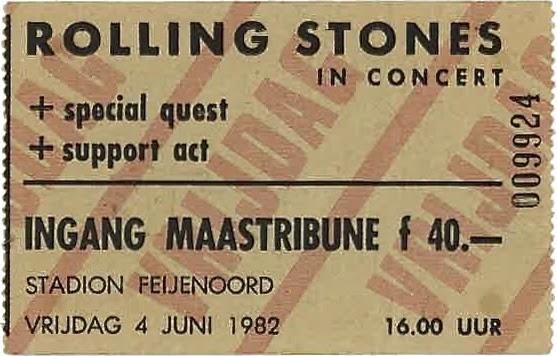 kaartje Rolling Stones 4 juni 1982