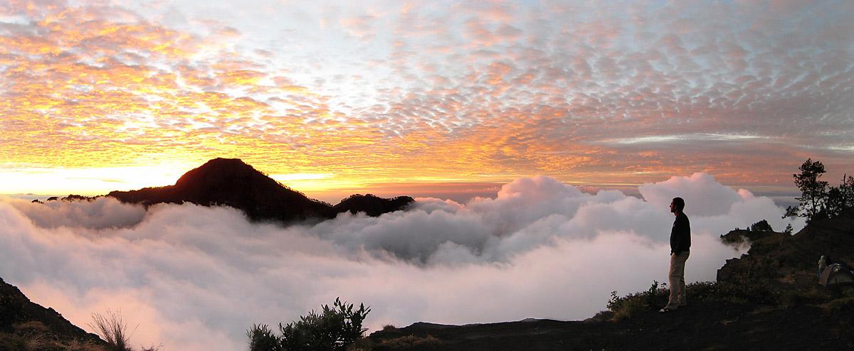 Beautiful sunset at Plawangan Sembalun an altitude 2639 meter of Mount Rinjani