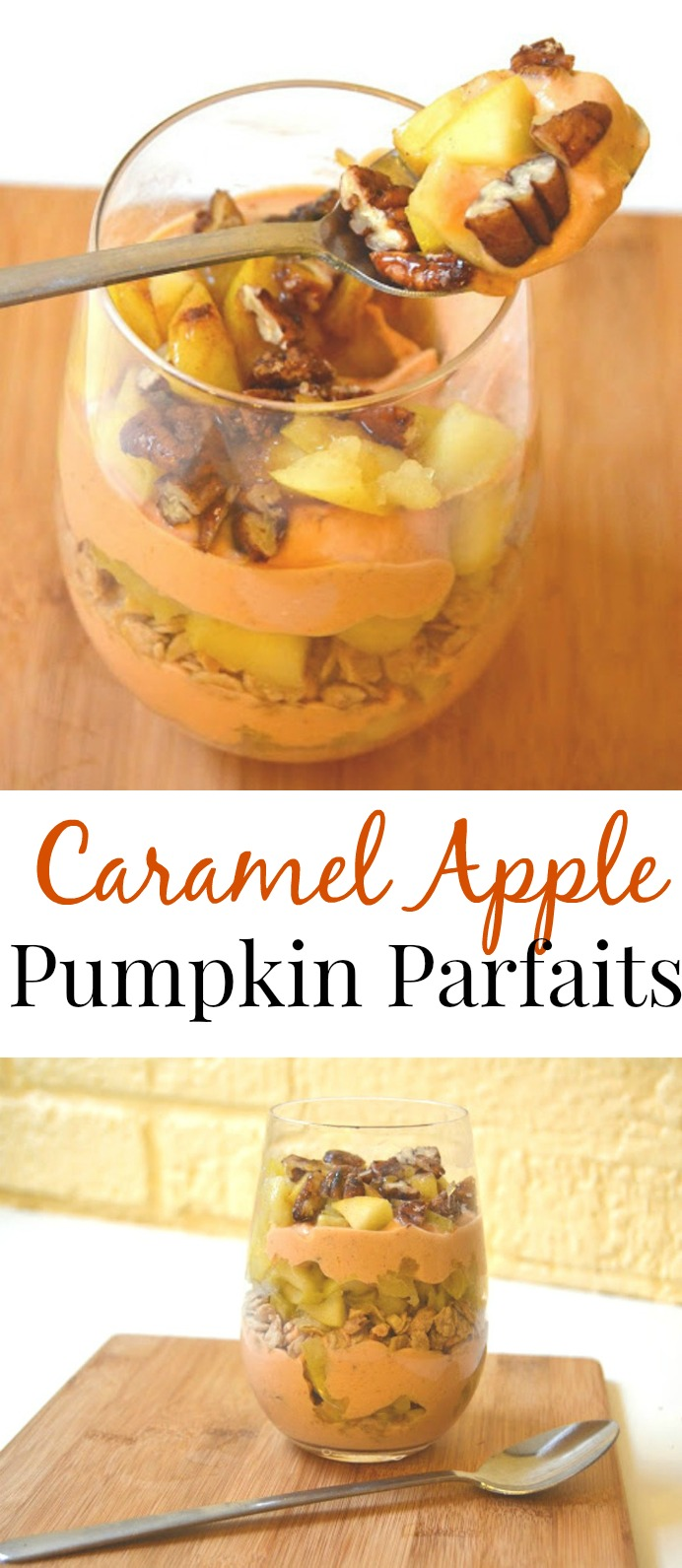 This delicious caramel apple pumpkin parfait is easy to make and full of fall flavors! Filled with fresh apples, pecans, pumpkin yogurt, granola and caramel sauce. www.nutritionistreviews.com