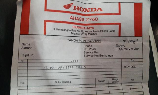 Berapa Biaya Tune-Up Honda Tiger di Ahass ?