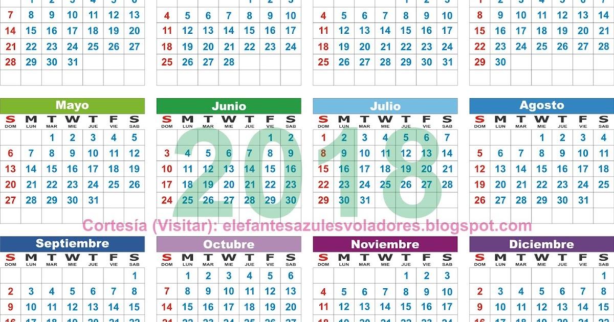 Elefantes azules voladores calendario 2018 para imprimir for Calendario lunar de hoy