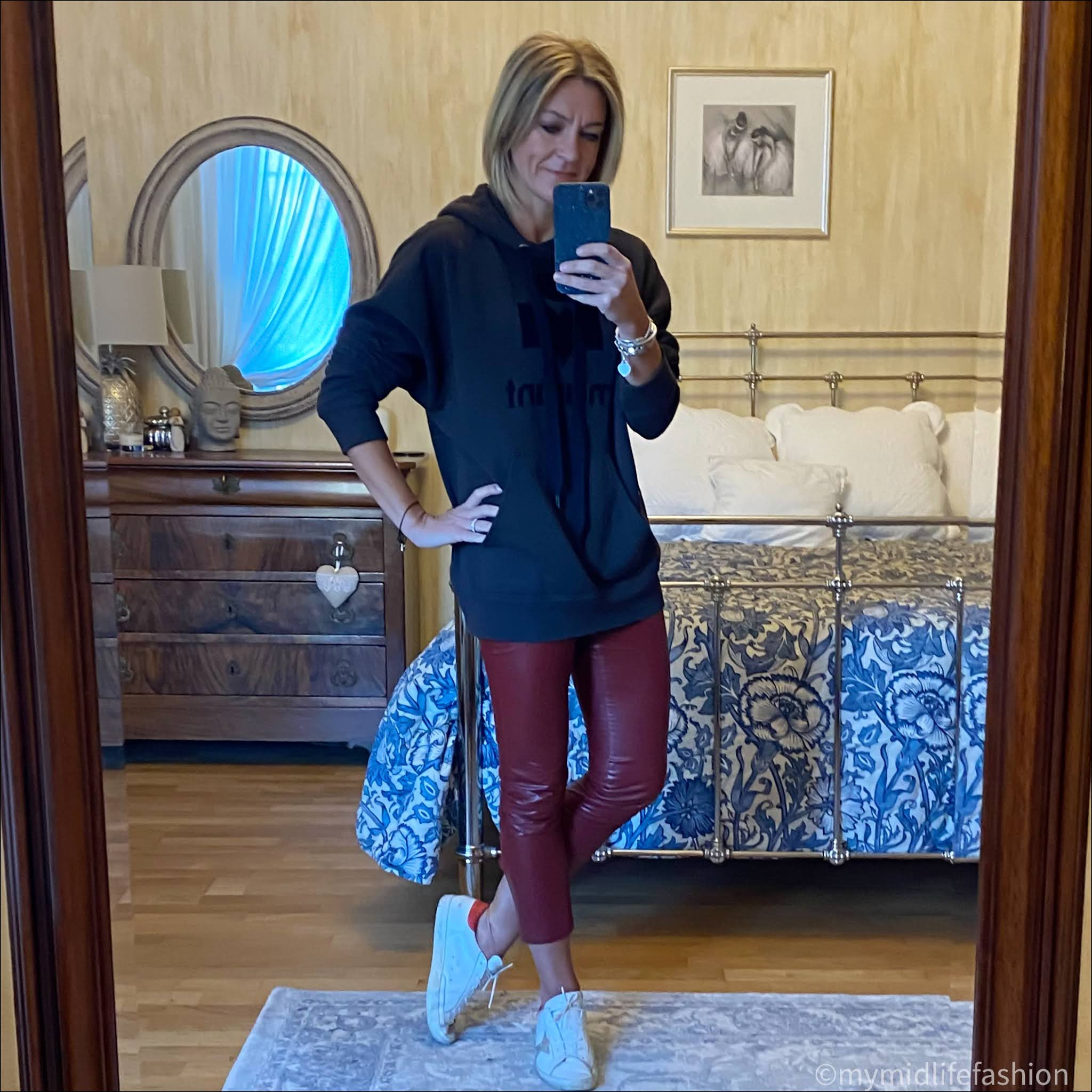 my midlife fashion, Isabel Marant Etoile hooded sweatshirt, Isabel Marant Etoile faux leather leggings, golden goose superstar low top leather trainers