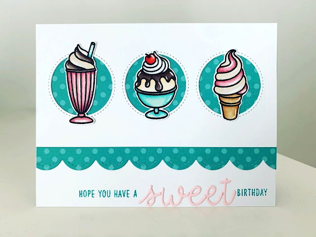 Sunny Studio Stamps: Summer Sweets Window Trio Dies Loopy Letter Dies Customer Card by Jo Smith