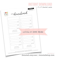 #book review #book review journal #book ratings #journal cards #instant download #printable #book nerd