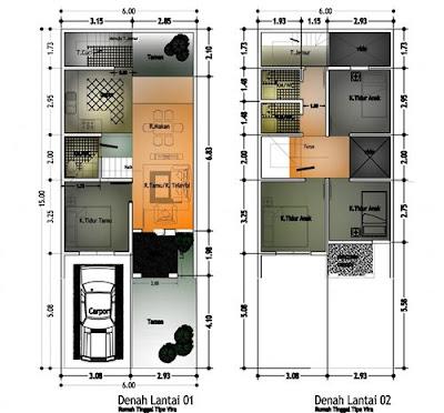 denah rumah minimalis 2 lantai beberapa tipe terbaru