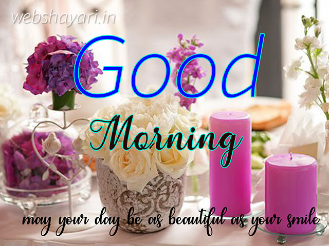 lovely good morning wish image with rose flower and candle