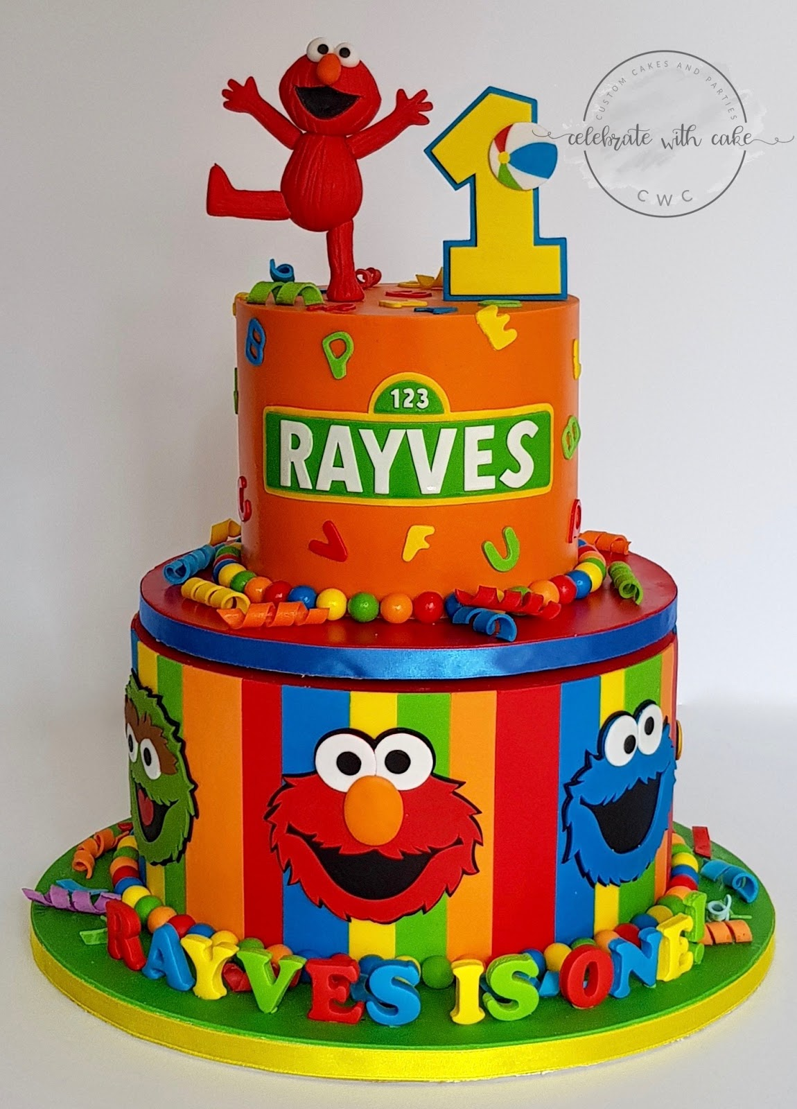 Stupendous Celebrate With Cake Rotating Sesame Street Themed 1St Birthday Cake Personalised Birthday Cards Paralily Jamesorg