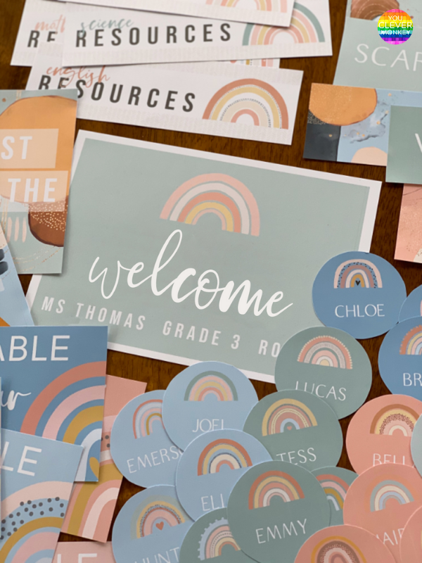 BOHO RAINBOW Classroom Labels + Signs Pack | you clever monkey