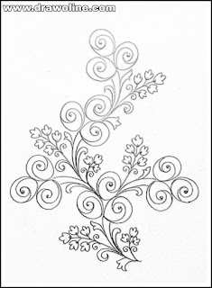 Top 5 patterns of hand embroidery and machine embroidery flowers design on tracing paper/pencil sketch florals design patterns on paper/flower design drawing for embroidery.