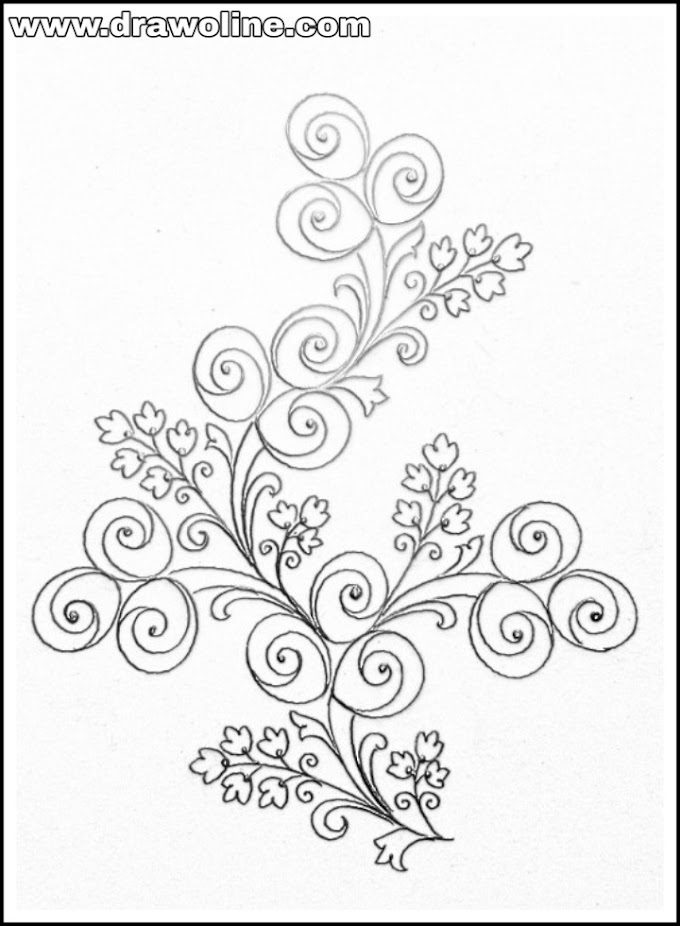 Flower design drawing/how to draw flowers designs patterns on pencil art for embroidery