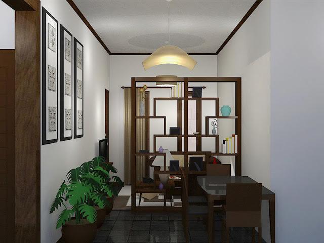 Contoh desain rumah 1 lantai dengan lemari sebagai sekat